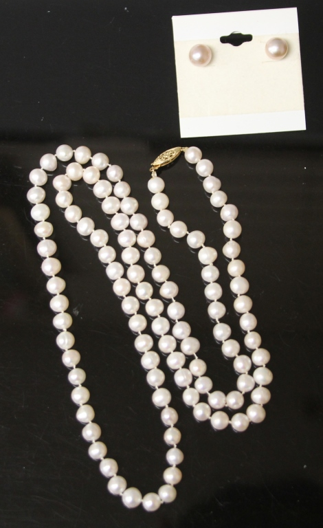 PINK NATURAL AKOYA PEARL 14KT NECKLACE & EARRINGS