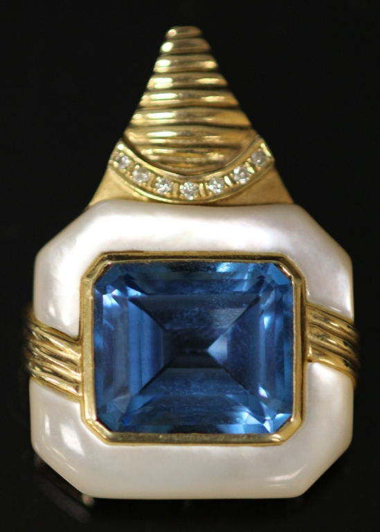 BLUE TOPAZ 14KT DIAMOND PENDANT