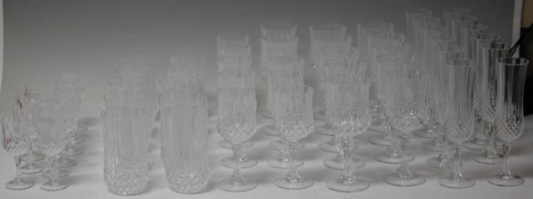 CLEAR CUT CRYSTAL STEMWARE, 52 PIECES