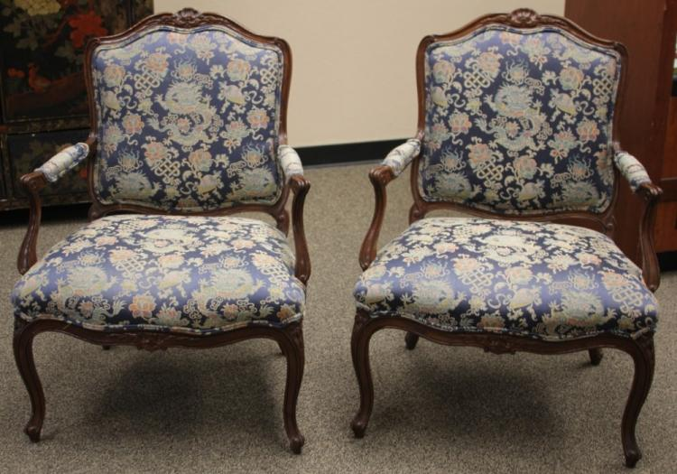 PAIR OF 20TH CENTURY SILK TAPESTRY ARM CHIARS