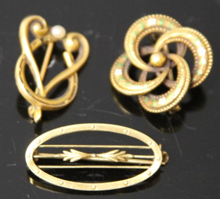 LOT OF (3) 14KT LADY'S PINS