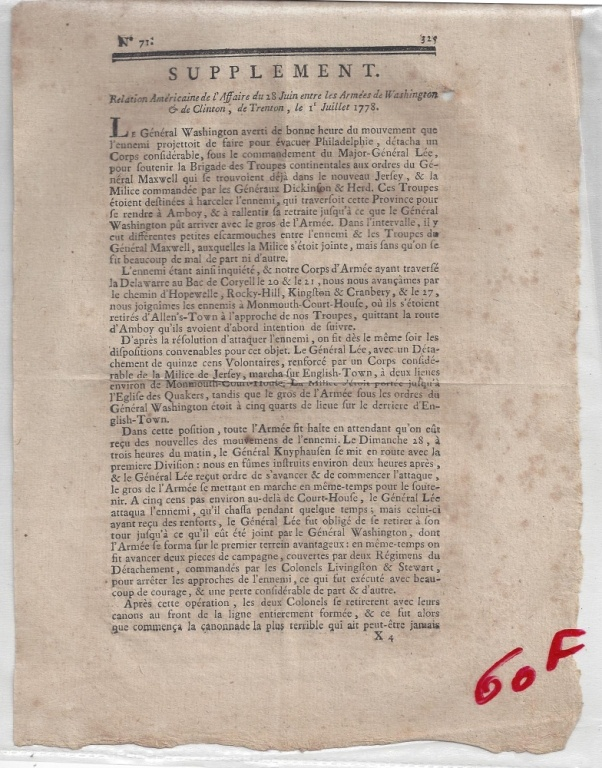 FRENCH-GAZETTE YORKTOWN, 1781 NEWSPRINT