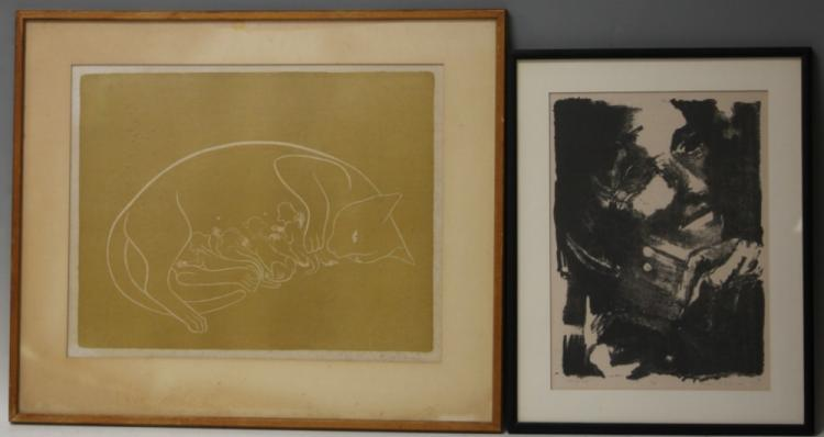 LOT OF (2) MID-CENTURY LITHOGRAPHS, PENCIL SIGNED