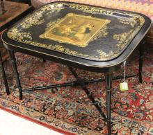 VICTORIAN TOLE PAINTED TRAY WITH ASSOC. BASE