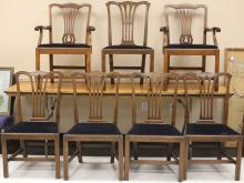 LOT OF (7) CHIPPENDALE MAHOGANY DINING CHAIRS