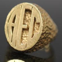 MONOGRAMMED 14KT YELLOW GOLD RING, 22.6 GRAMS