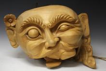 JAPANESE CARVING OF BUDDHA HEAD, 30