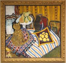 20TH CENTURY OIL ON CANVAS, INTERIOR WITH CAT
