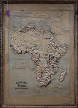 1895 RELIEF MAP OF AFRICA, PUB. CHICAGO, ILL.