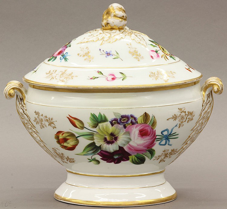 FRENCH PAINT DECORATED COMPOTE height- 11 1/2