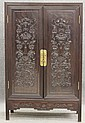 QING DYNASTY ROSEWOOD CARVED             CABINET             circa 19th century or earlier             height- 77