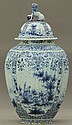 DELFT STYLE BLUE AND WHITE             STORAGE VESSEL             circa 19th century             height- 26 1/4