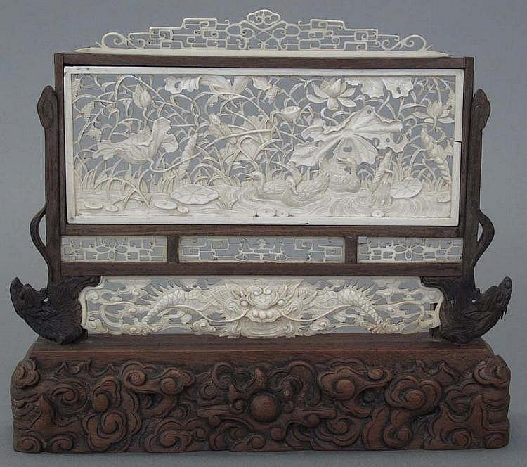 CHINESE IVORY TABLE SCREEN circa late 18th- early