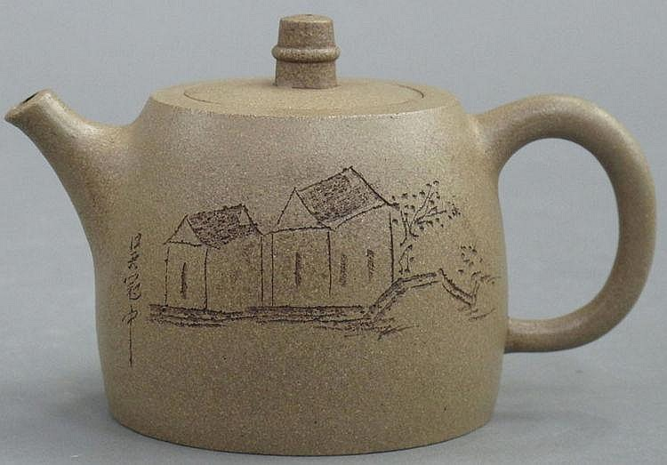 CHINESE CLAY TEAPOT stamped by Gu Jingzhou height-