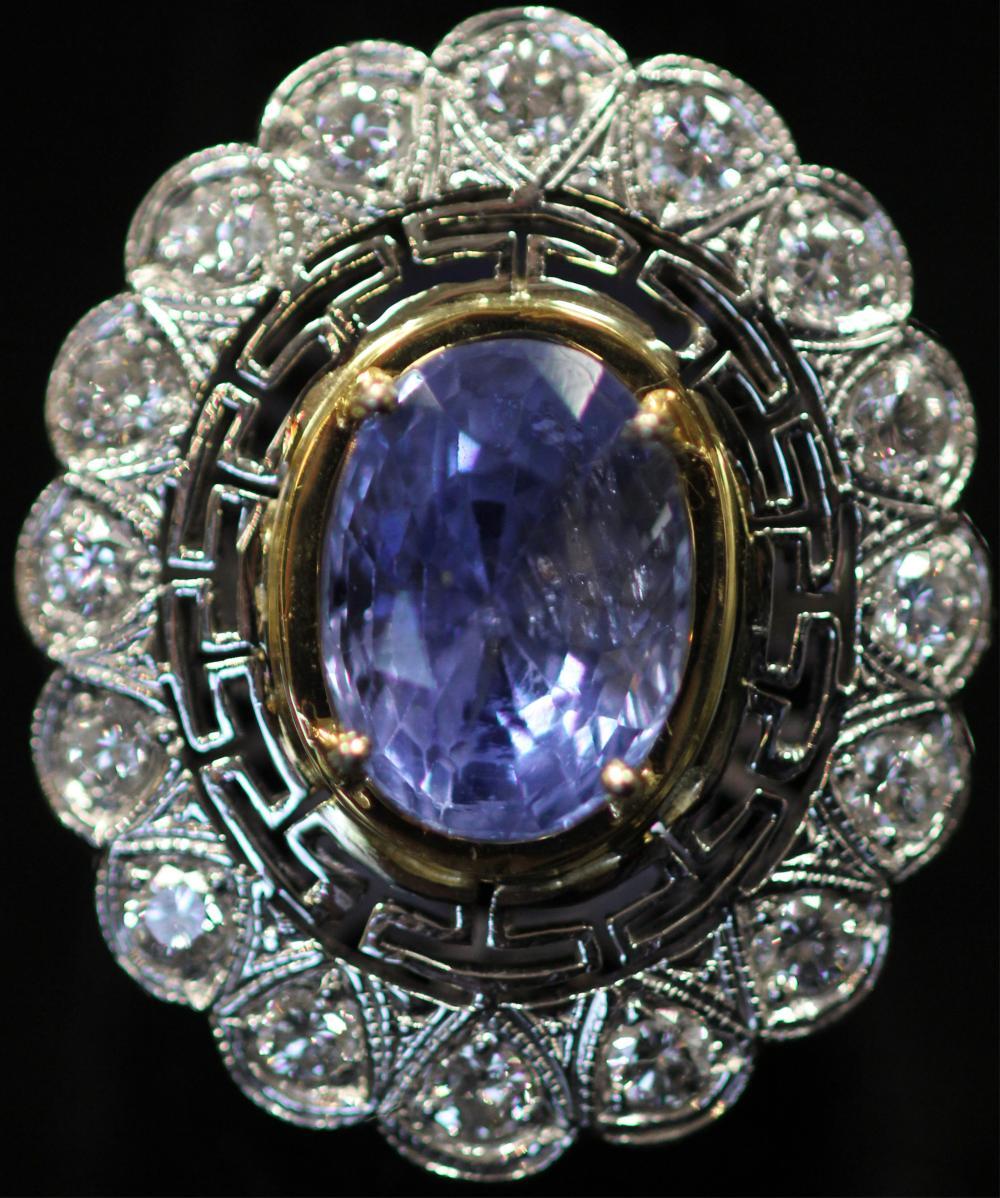 Blue Diamond Platinum: LADY'S BLUE SAPPHIRE & DIAMOND PLATINUM RING, GIA