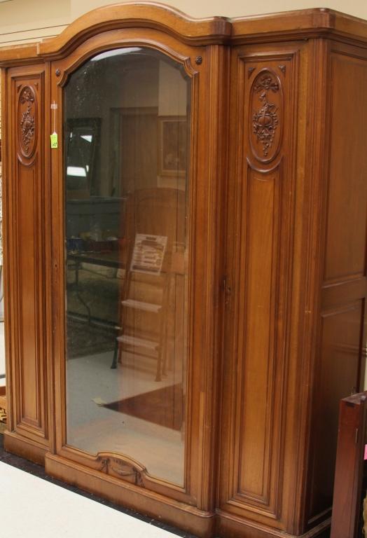 French Walnut Three Door Curio Cabinet