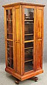 VICTORIAN CHERRY REVOLVINGBOOKCASE, marked Dannerwith cased glass sidesheight- 72