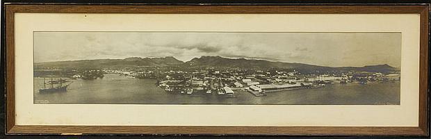 "MELVIN VANIMAN, PHOTO OF PEARLHARBOR/DIAMOND HEADcirca 1901sight- 5 1/4"" x 26 1/4"" estimate 250-450"