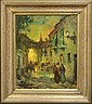 ROWEN HUGHES OIL ON CANVASStreet Scene with figuressight- 19 1/2