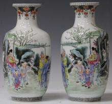 PAIR OF REPUBLIC PERIOD PAINTED VASES