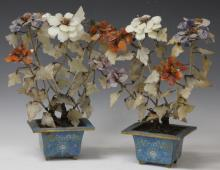 PAIR OF VINTAGE CHINESE CLOISONNE AND JADE TREES