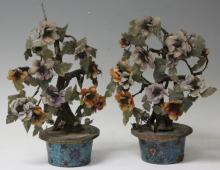 PAIR OF CHINESE CLOISONNE JADE TREES