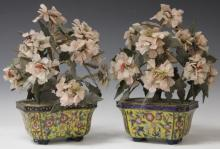 PAIR OF VINTAGE CHINESE CLOISONNE JADE TREES
