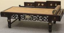 EARLY CHINESE ROSEWOOD BED WITH MARBLE INSERTS