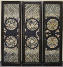 SET OF (3) QING DYNASTY SILK EMBROIDERED PANELS