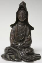 EARLY CHINESE BRONZE QUAN YIN SEATED FIGURE