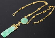 LADY'S CHINESE JADE 14KT NECKLACE