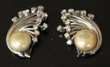 PAIR OF 18KT DIAMOND AND PEARL EARRINGS