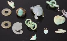 LOT OF (12)  VINTAGE CHINESE JADE JEWELRY