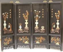 CHINESE VINTAGE FOUR PANEL SCREEN WITH JADE INLAY