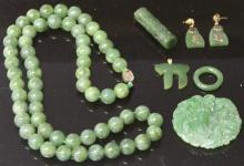 LOT OF (6) CHINESE JADE, JEWELRY AND CARVING
