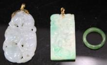 LOT OF (3) JADE, CARVED PENDANTS AND RING