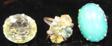 LOT OF (3) RINGS, ZIRCONS, TURQUOISE, CITRINE