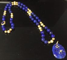 LAPIS BEADED NECKLACE WITH PENDANT