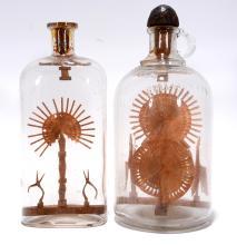 Elaborate Wooden Fans Inside Bottles.