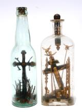 Gold Christ w Angel and Cross in Bottles.