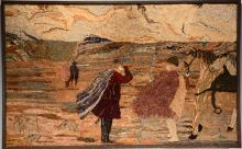 Hooked Rug With People & Horses.