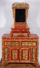 Chinese Highly Decorated Wardrobe With Mirror.