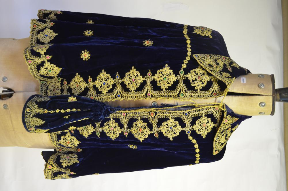 Indian dark blue velvet cape