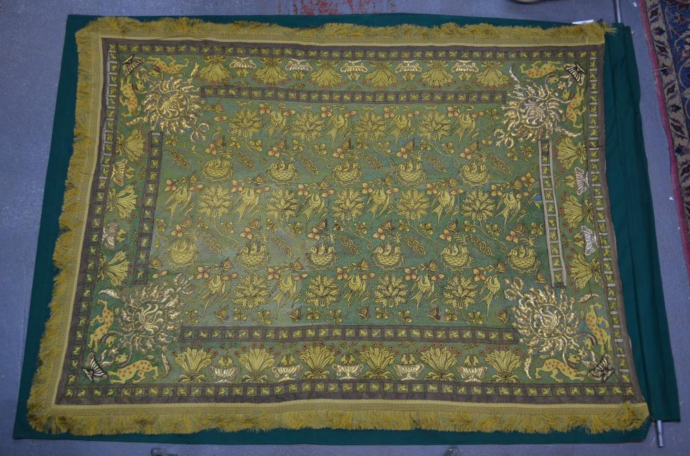 A fine Italian embroidered silk bed hanging in 17th century Sicilian style