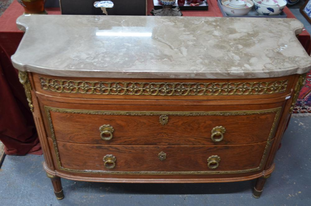 A continental grey marble top gilt-metal mounted kingwood commode