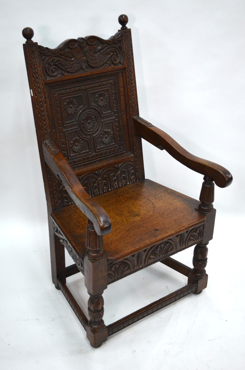 A Victorian oak Wainscote chair in the 17th century style