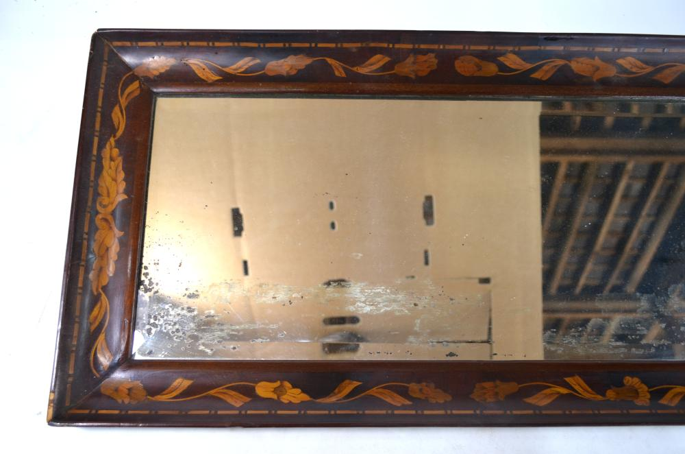 A 19th century Dutch floral marquetry wall mirror
