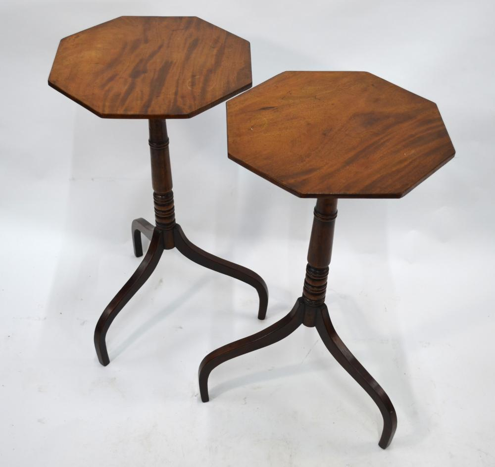 A pair of George III mahogany tripod occasional tables