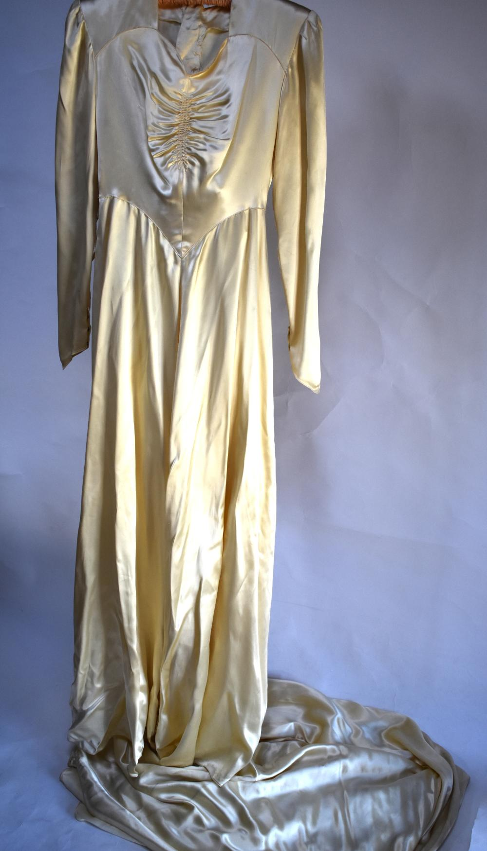 Vintage ivory silk satin wedding dress