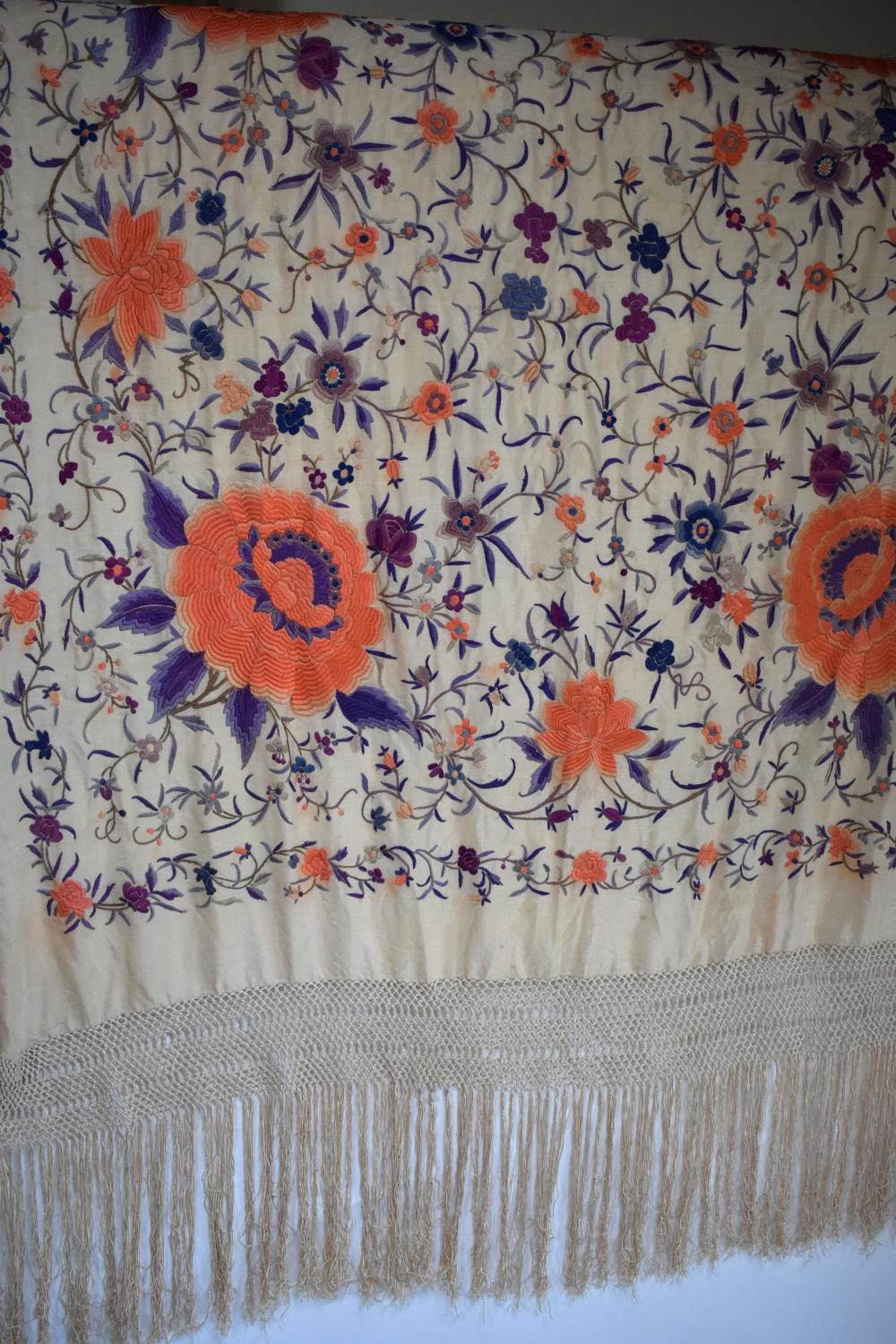Chinese silk embroidered shawl